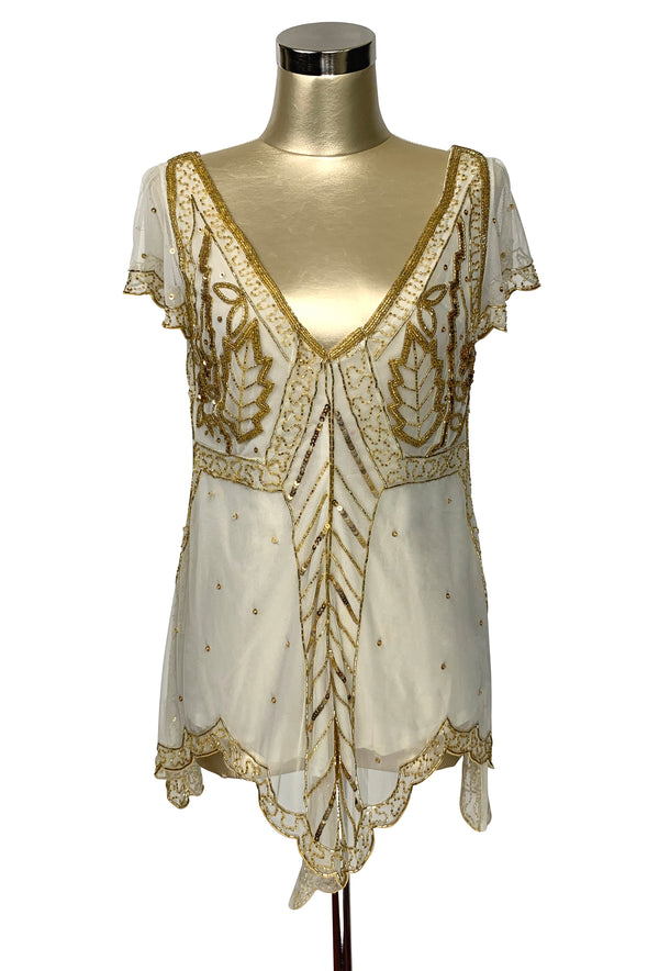 The Isadora Beaded Mesh Edwardian Handkerchief Top - Gold on Cream