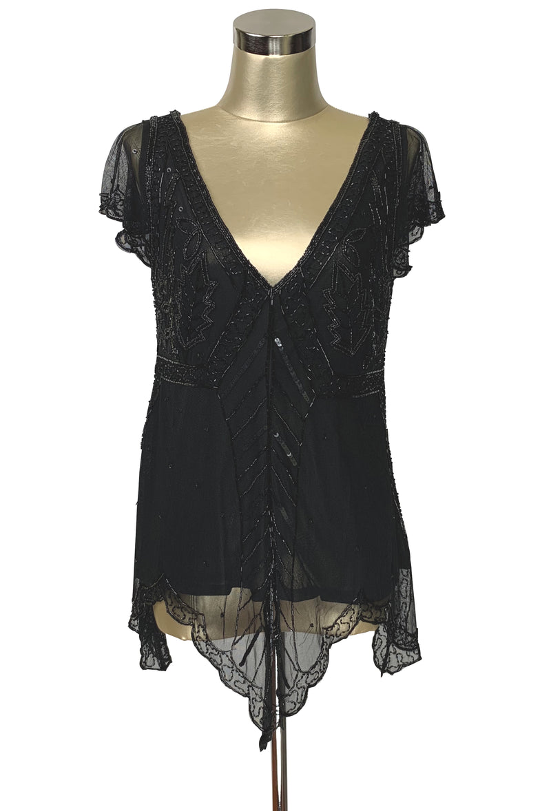The Isadora Beaded Mesh Edwardian Handkerchief Top - Jet on Black