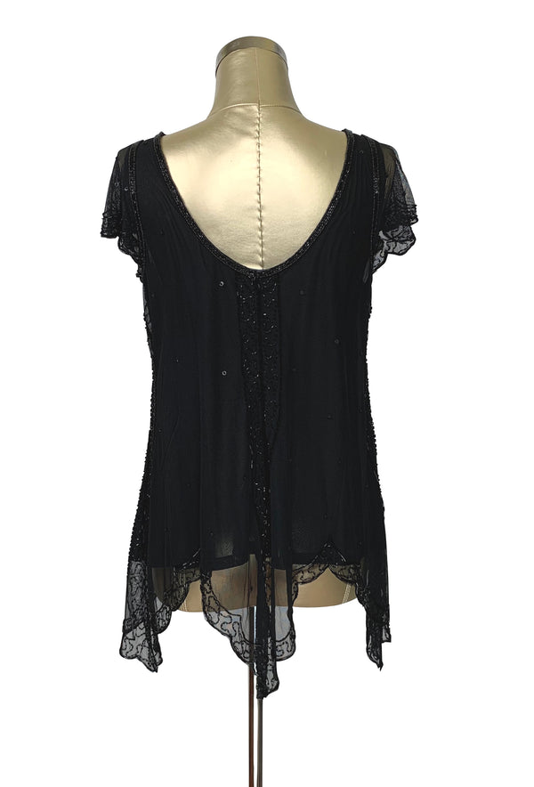 The Isadora Beaded Mesh Edwardian Handkerchief Top - Jet on Black - The Deco Haus