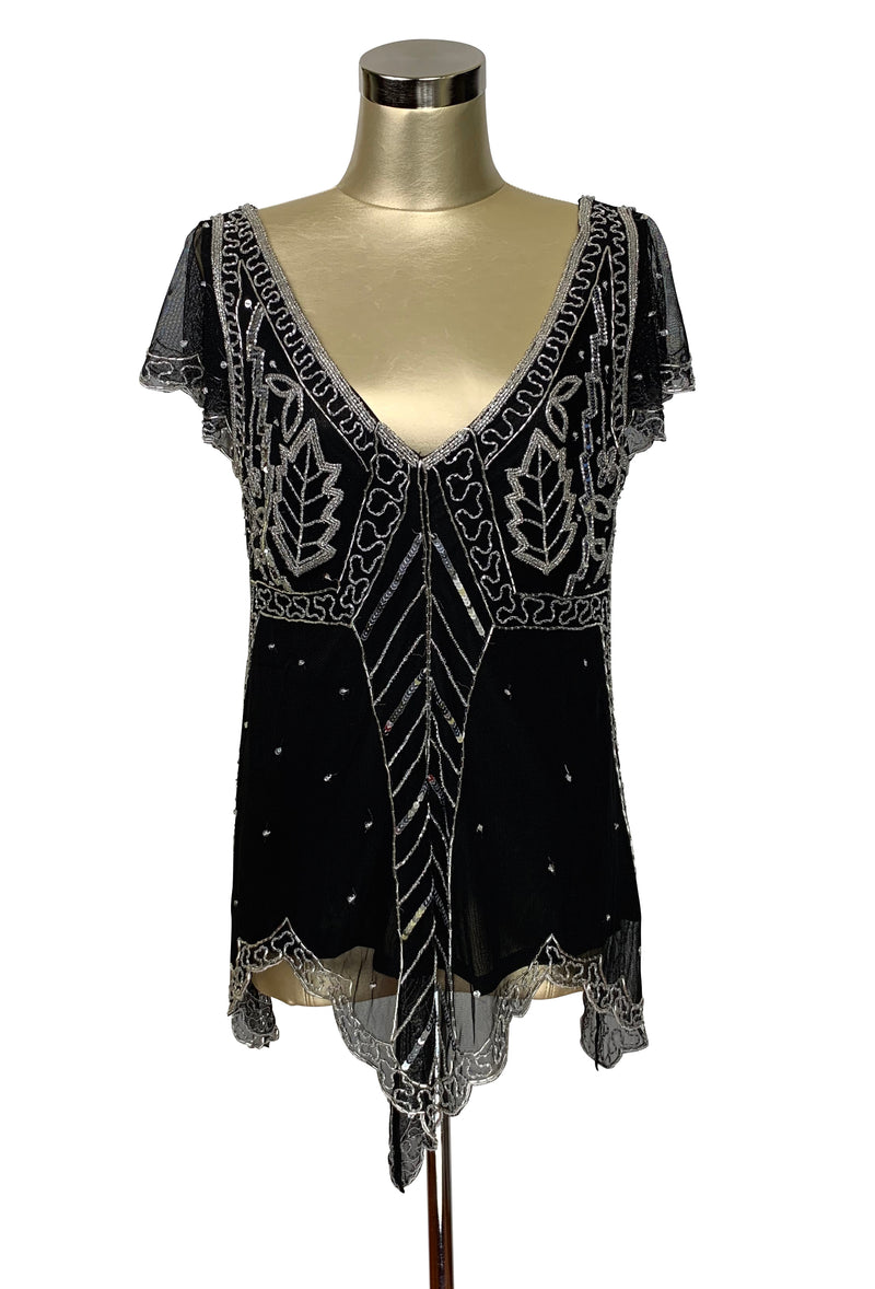The Isadora Beaded Mesh Edwardian Handkerchief Top - Silver on Black - The Deco Haus
