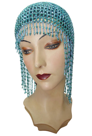 The Jazz Baby Flapper Fringe 1920's Party Cap - Turquoise Blue
