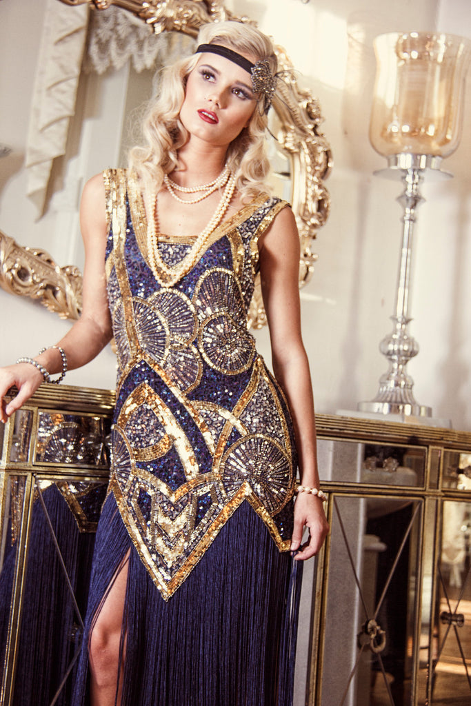 Vintage Inspired Cocktail Dresses, Party Dresses 1920s Vintage Flapper Fringe Deco Gown - The Kismet - Sapphire $379.95 AT vintagedancer.com