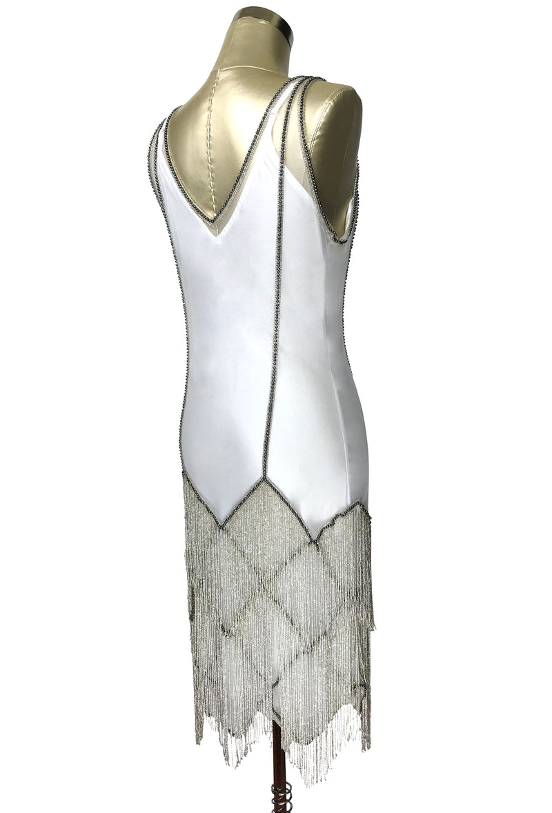 The Louise Brooks Celebrity Beaded Mesh 1920's Gown - Silver on White - The Deco Haus