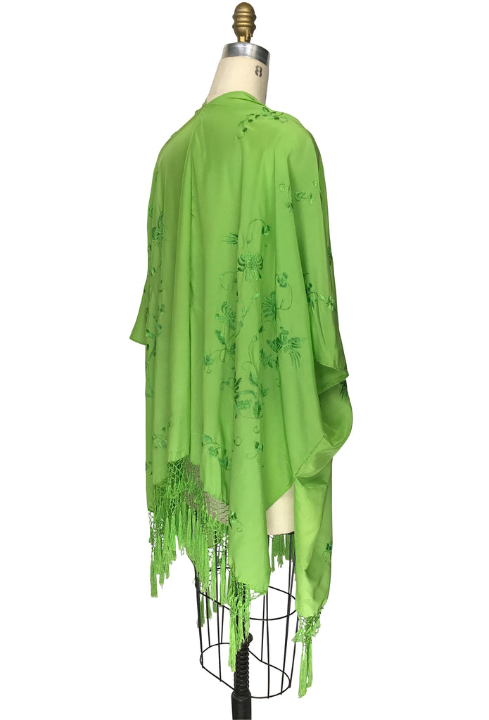 The Madame Butterfly Embroidered Silk Fringe 20s Evening Wrap - French Lime - The Deco Haus