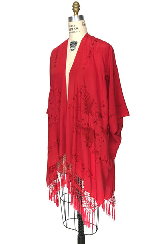 The Madame Butterfly Embroidered Silk Fringe 20s Evening Wrap   Scarlet Red    The Deco Haus