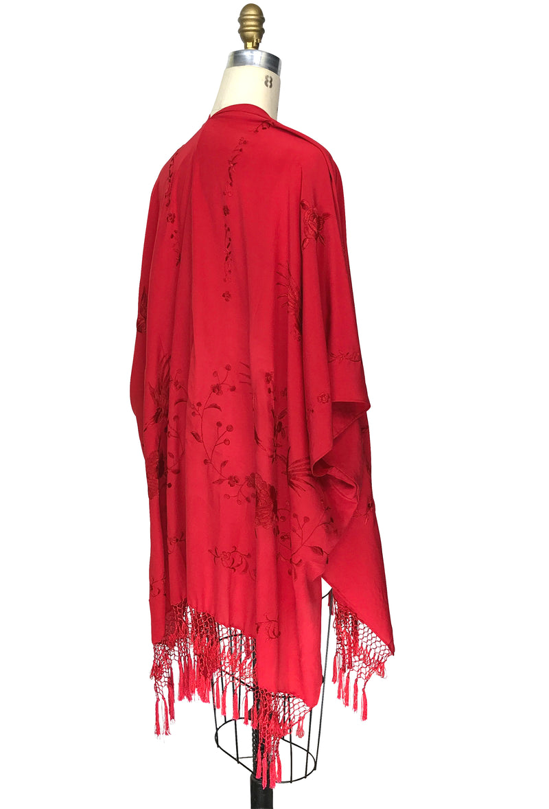 The Madame Butterfly Embroidered Silk Fringe 20s Evening Wrap - Scarlet Red - The Deco Haus