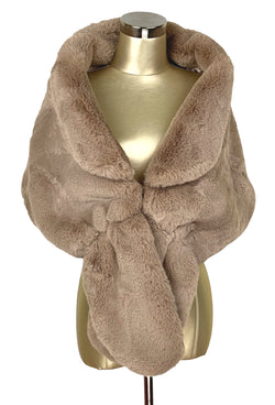 The Marilyn Luxury Vintage Faux Fur Collar Shrug Wrap - Cafe au Lait