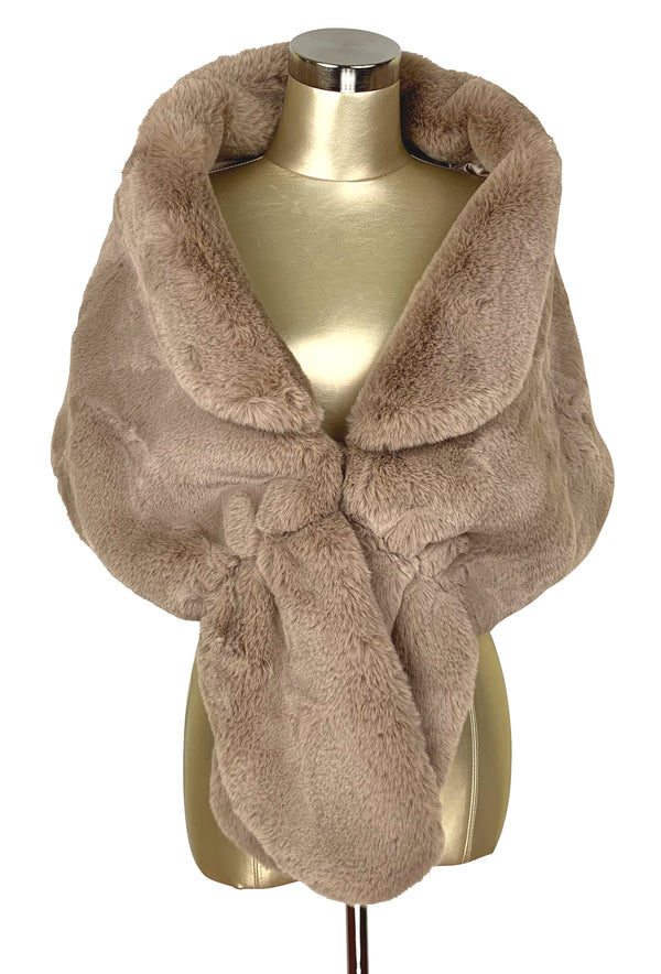 The Marilyn Luxury Vintage Faux Fur Collar Shrug Wrap - Cafe au Lait - The Deco Haus