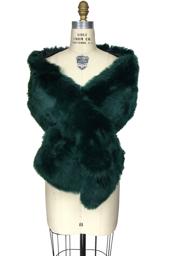 The Marilyn Luxury Vintage Faux Fur Shrug Wrap - Bottle Green