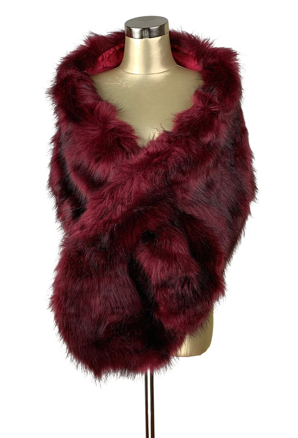The Marilyn Luxury Vintage Faux Fur Shrug Wrap - Cabernet Red