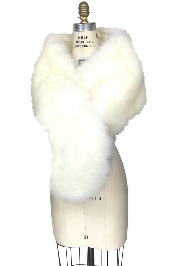 The Marilyn Luxury Vintage Faux Fur Shrug Wrap - Cream - The Deco Haus