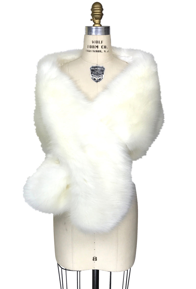 The Marilyn Collection Luxury Vintage Faux Fur Shrug Wrap - Creamy Ivory