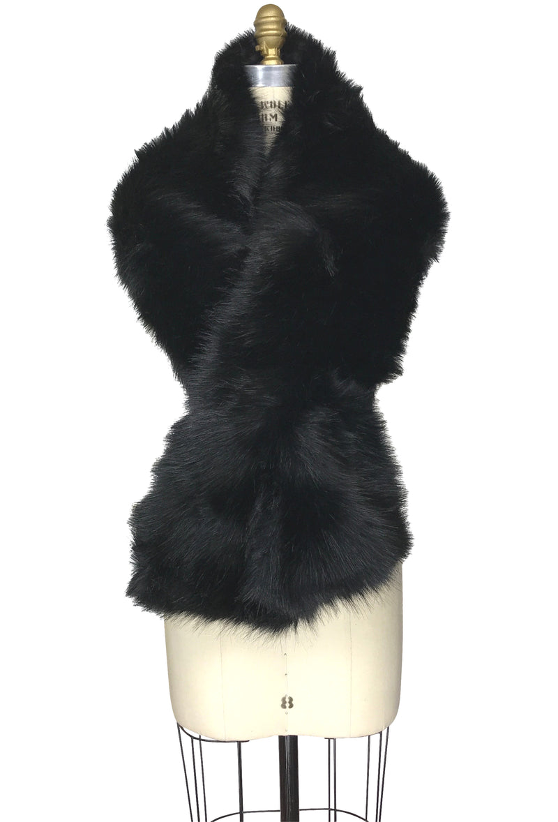 The Marilyn Luxury Vintage Faux Fur Shrug Wrap - Sable Black - The Deco Haus