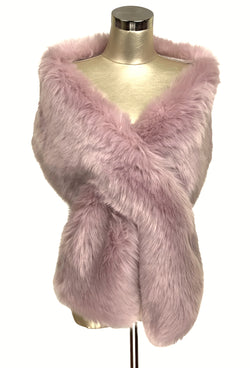 The Marilyn Luxury Vintage Faux Fur Shrug Wrap - Vintage Pink - The Deco Haus