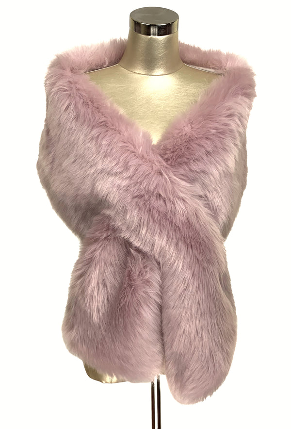 The Marilyn Luxury Vintage Faux Fur Shrug Wrap - Vintage Pink