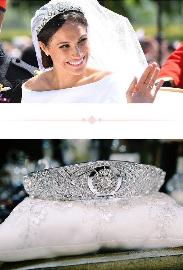 The Meghan Markle Rhinestone Vintage Luxury Princess Wedding Tiara - Silver