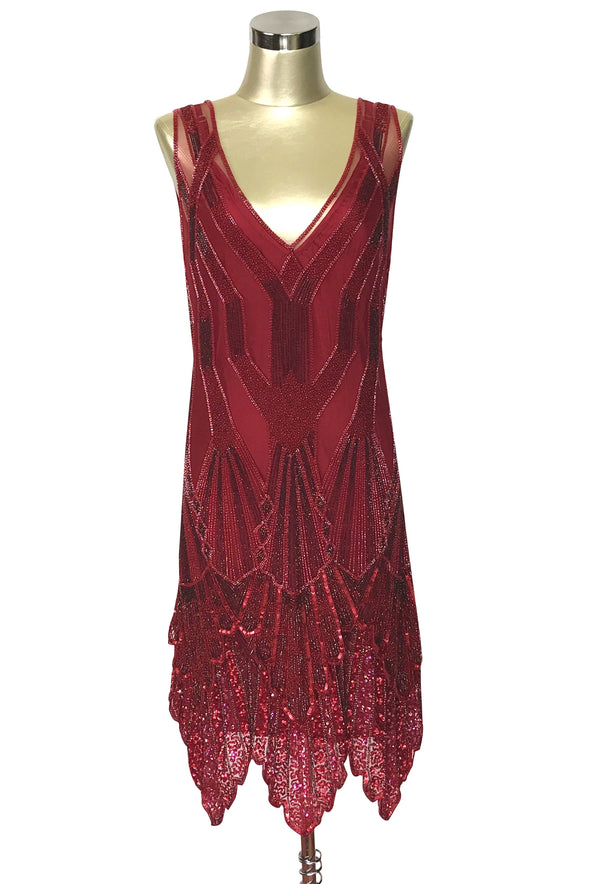The Paris 1920's Handkerchief Art Deco Gown - Blood Red - The Deco Haus