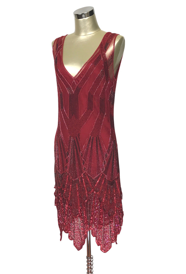 The Paris 1920's Handkerchief Art Deco Gown - Blood Red