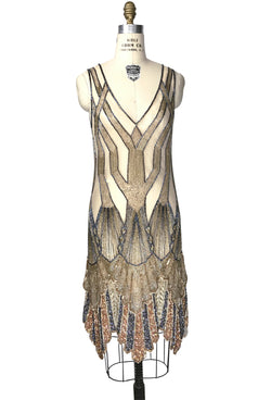 The Paris 1920's Handkerchief Art Deco Gown - Gold Multi Metallic