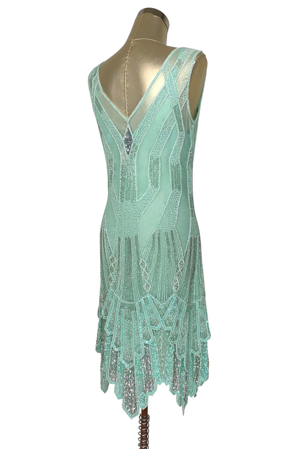 The Paris 1920's Handkerchief Art Deco Gown - Turquoise Green Silver - The Deco Haus