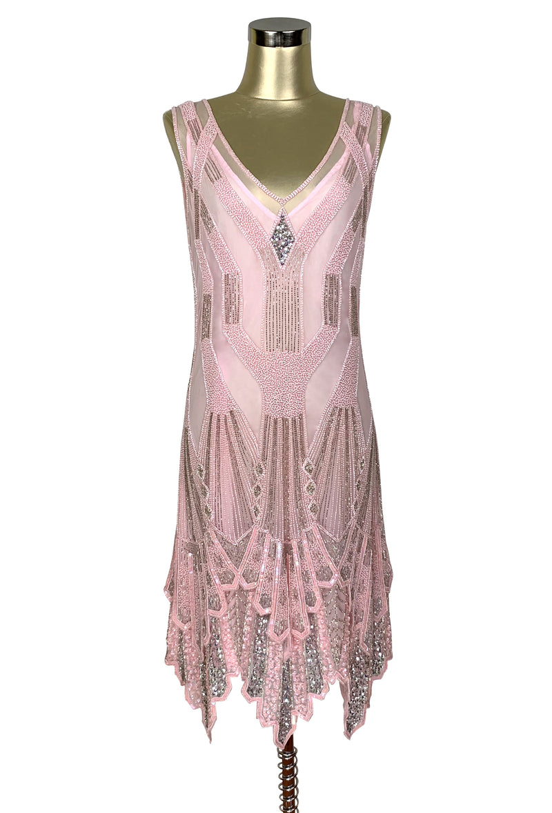 The Paris 1920's Handkerchief Art Deco Gown - Vintage Pink Silver - The Deco Haus