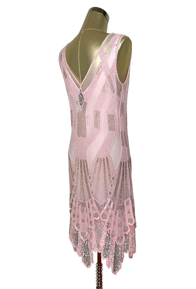 The Paris 1920's Handkerchief Art Deco Gown - Vintage Pink Silver