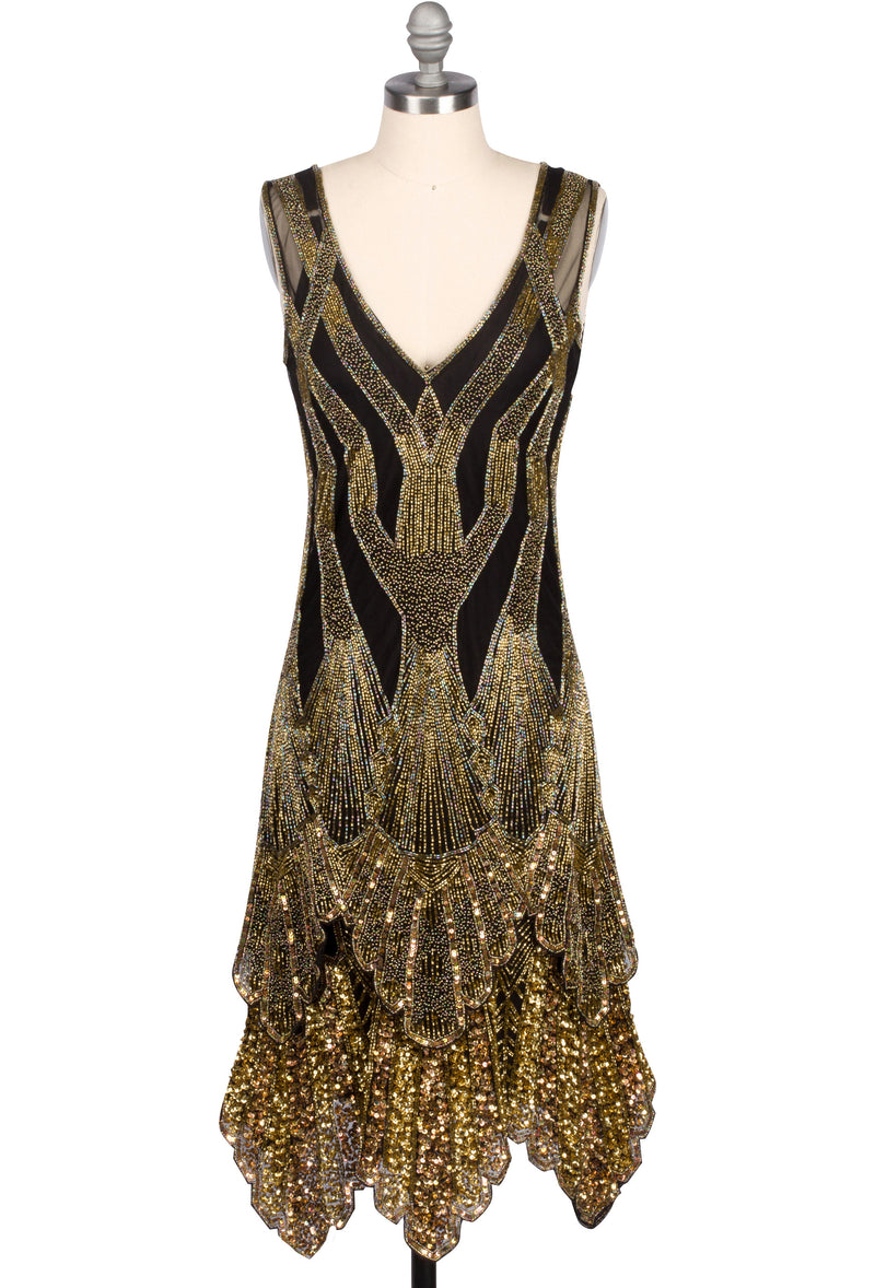 The Paris 1920's Handkerchief Scallop Panel Art Deco Gown - Black Gold - The Deco Haus