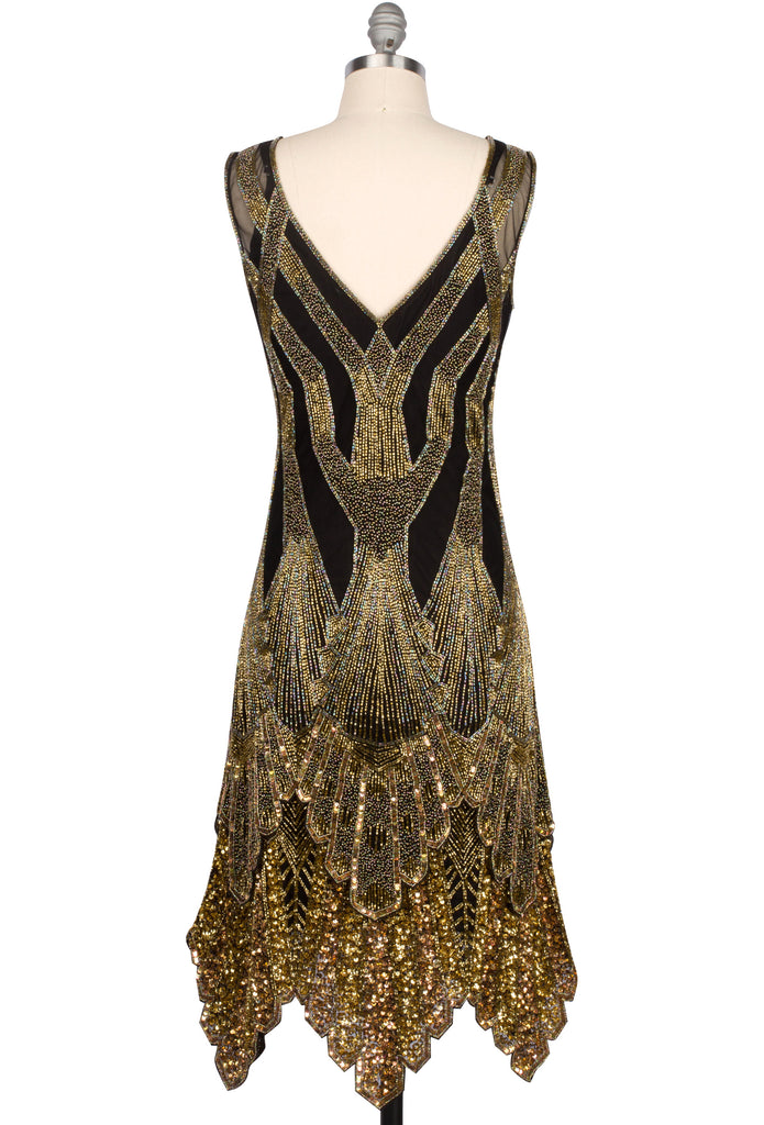 1920s Style Dresses, Flapper Dresses The Paris 1920s Handkerchief Scallop Panel Art Deco Gown - Black Gold $379.95 AT vintagedancer.com