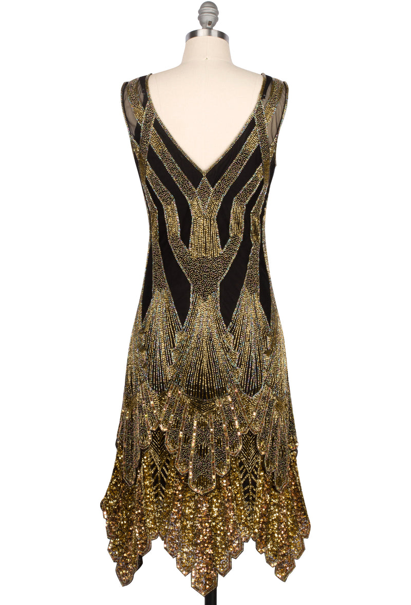 The Paris 1920's Handkerchief Scallop Panel Art Deco Gown - Black Gold (pre-order) - The Deco Haus