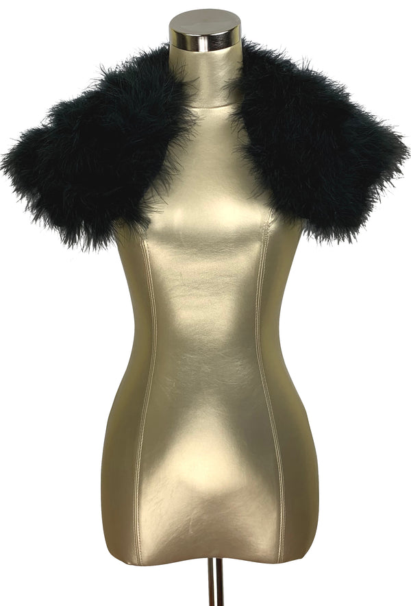 The Parisian Luxury Ostrich Vintage Feather Shrug Wrap - Ebony Black