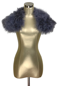 The Parisian Luxury Ostrich Vintage Feather Shrug Wrap - Gunmetal - The Deco Haus