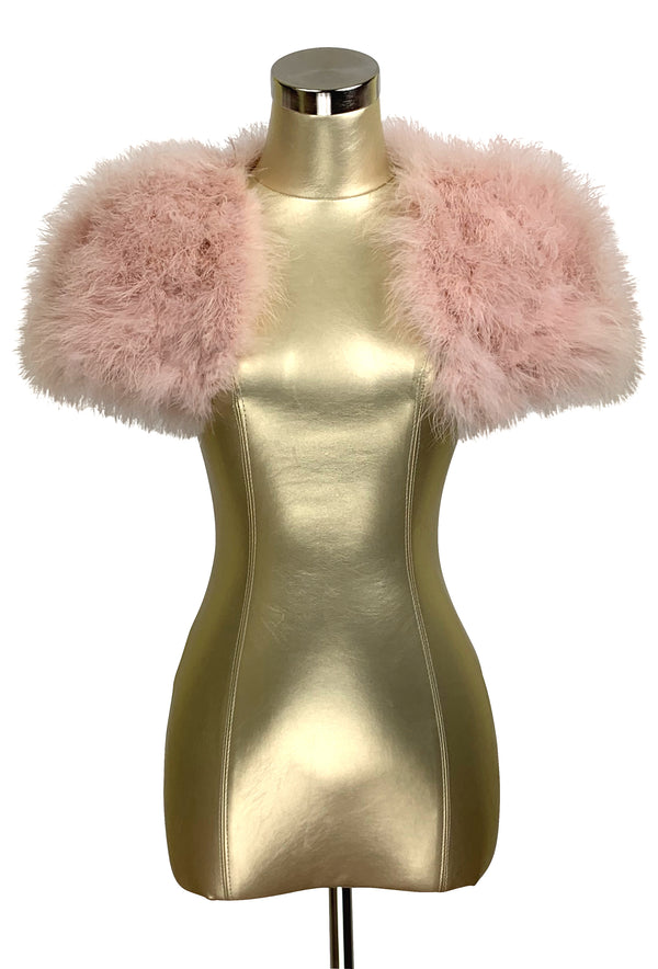 The Parisian Luxury Ostrich Vintage Feather Shrug Wrap - Vintage Pink