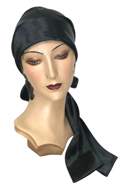 1920s Headband, Headpiece & Hair Accessory Styles THE PAVLOVA 1920S SATIN FLAPPER HEAD WRAP - BLACK $39.95 AT vintagedancer.com