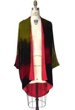 The Silk Velvet Cocoon 1920's Poiret Batwing Opera Coat - Abstract Hand-Dye