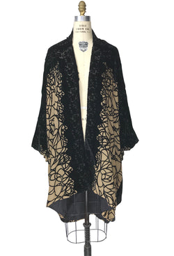 The Silk Velvet Cocoon 1920's Poiret Batwing Opera Coat - Black Tan Spider - The Deco Haus