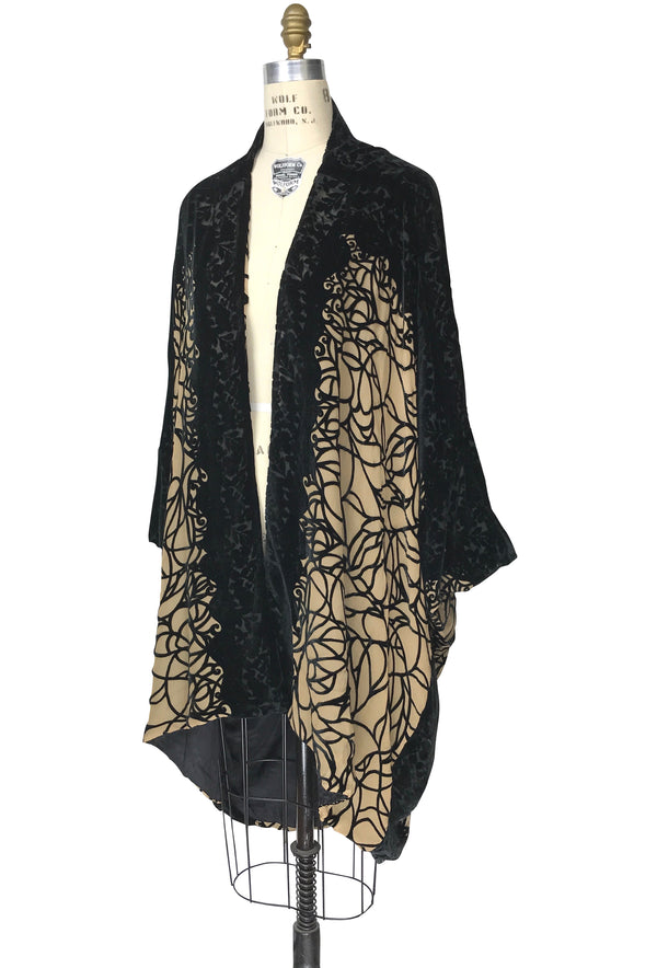 The Silk Velvet Cocoon 1920's Poiret Batwing Opera Coat - Black Tan Spider