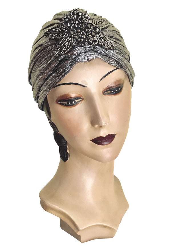 The Silver Lamé 1920's Deco Beaded Appliqué Evening Turban - The Deco Haus