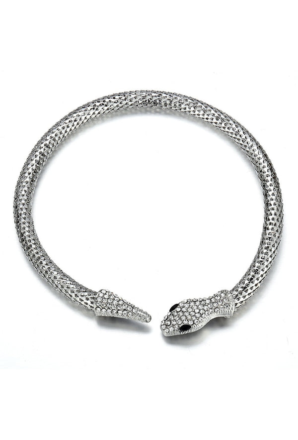 The Silver Mesh Theda Bara Art Deco Egyptian Snake Necklace - The Deco Haus