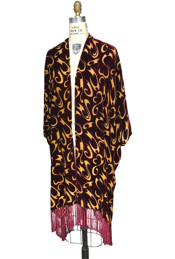 The Surrealist Burnout Silk Velvet Fringe 30s Evening Wrap - Burgundy Gold