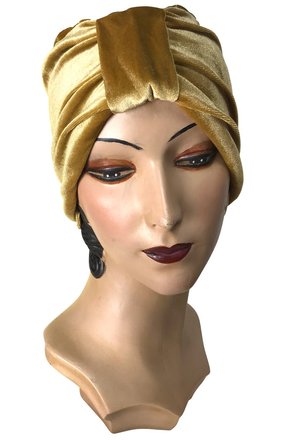 The Swanson 1920's Deco Evening Turban - Antique Gold Velvet