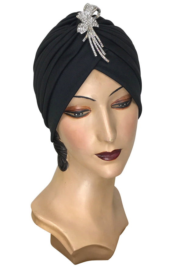 The Swanson 1920's Deco Evening Turban - Black Modernisme