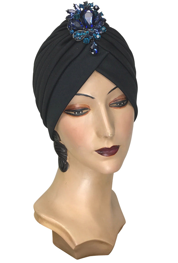 The Swanson 1920's Deco Evening Turban - Black Spectrum Blue Teardrop