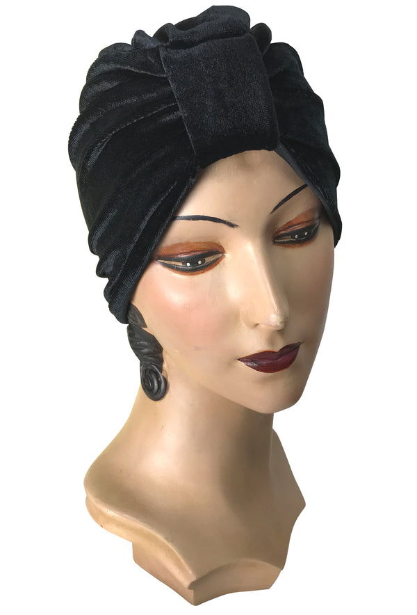 The Swanson 1920's Deco Evening Turban - Kohl Black Nylon