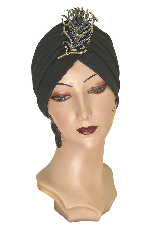 The Swanson 1920's Deco Evening Turban - Peacock Feather - Multi