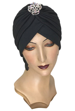 The Swanson 1920's Deco Evening Turban - Silver Filigree Crown