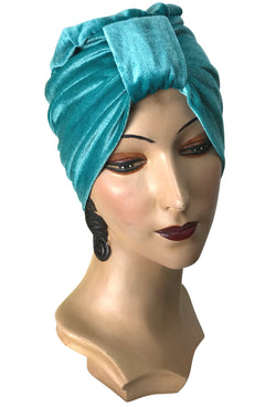 The Swanson 1920's Deco Evening Turban - Tiffany Blue Velvet