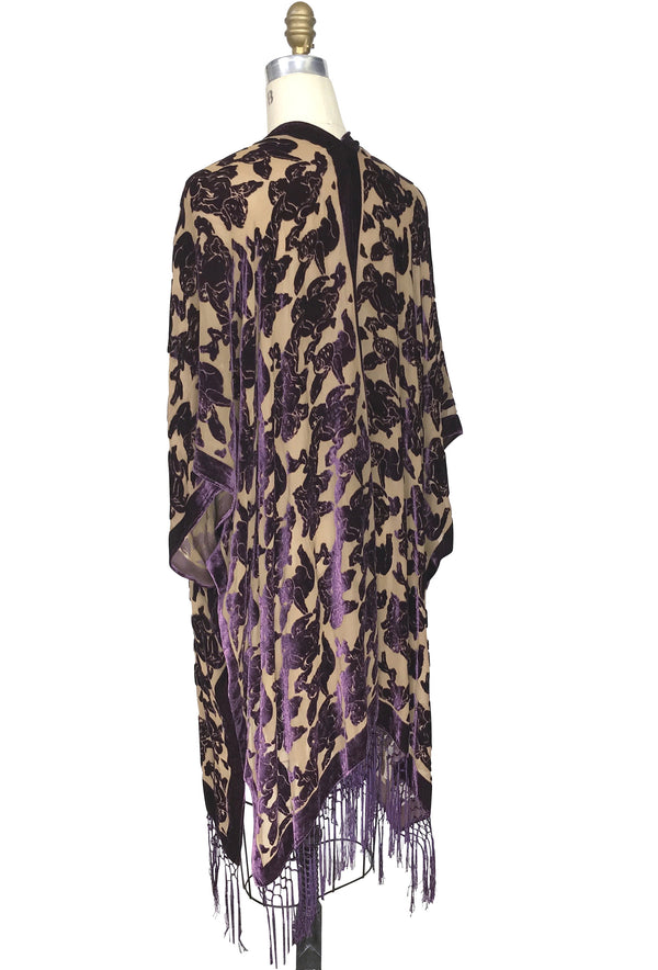 The Victorian Cherub Burnout Silk Velvet Fringe 20s Evening Wrap - Plum Nude