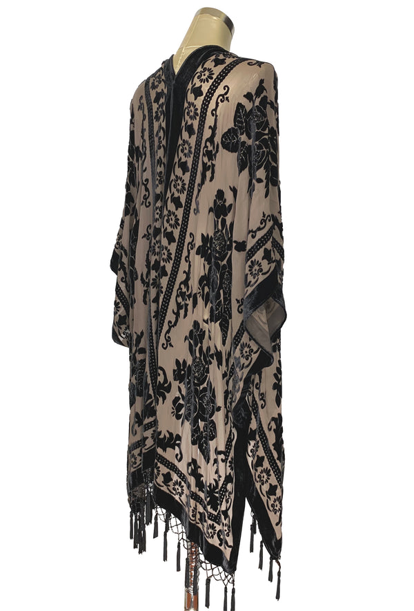 The Victorian Floral Silk Velvet Burnout Beaded Evening Wrap - Mocha