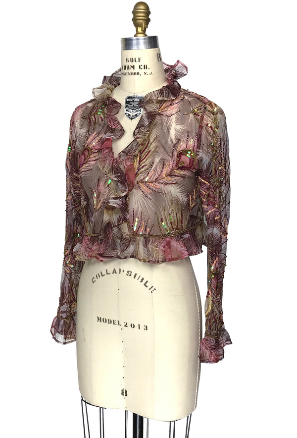 The Victorian Mesh Hand Beaded Romance Ruffle Bolero Jacket - Burgundy Peacock