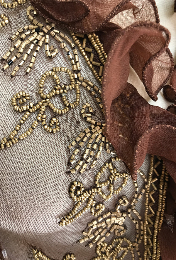 The Victorian Mesh Hand Beaded Romance Ruffle Bolero Jacket - Gold on Mocha Brown